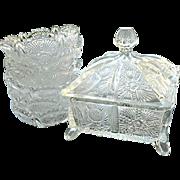 Honey Set 7 pcs. Paneled Thistle Set Higbee 1910