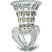Large Block with Ribs Etched Lead Crystal Rocket Vase