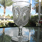 Oval Panel Fern EAPG Water Goblet 1880s