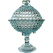 Covered Pedestal Compote Blue Thousand Eye Adams & Co.