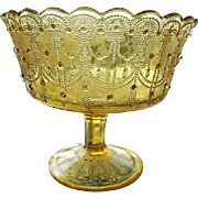 Honey Amber Lacy Beaded Small Open Compote