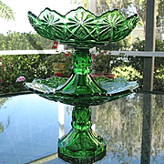 Shoshone Emerald Green Compote 2 Tier Dessert Set 1891