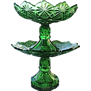 Shoshone Emerald Green Compote 2 Tier Set 1891