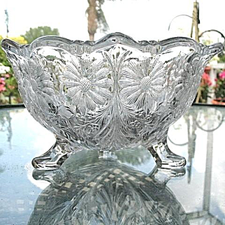 Large Footed Bowl Puritan Pattern McKee Glass 1910