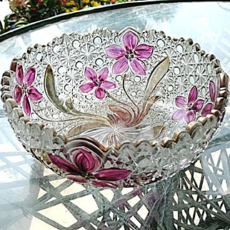 Round Daisy Button Narcissus Bowl Ruby Gold Stain