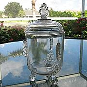 Riverside Glass Grasshopper Covered Sugar