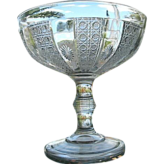 Compote 8 in. Cane and Rosette 1872 Duncan & Sons