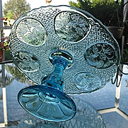 Swedish Flower Medallion Cake Stand Blue