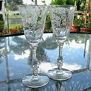 Cambridge Rose Point 2 Wine Glasses  2.5 oz.
