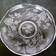 Extra Large Heisey Rose Shallow Bowl  Waverly Blank