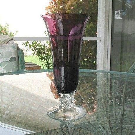 Elegant Fostoria Designer  Vase 9.75 in. 1930s Amethyst Clear