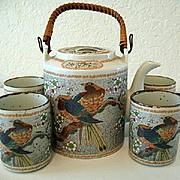 Asian Teapot  Bamboo Handle and 4 Cups Bird of Paradise