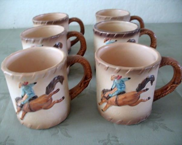Otagiri Rodeo Cowboy Mugs Ceramic  Set 6