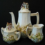 Lefton Teapot, Sugar and Creamer Vineyard Set