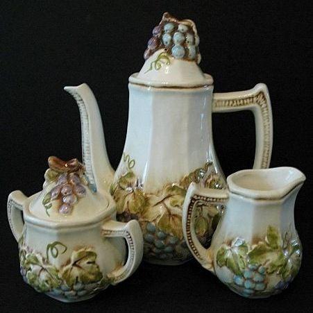 Lefton Teapot, Sugar and Creamer Vineyard Set