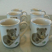 Otagiri Set 6  Cute Koala Bone China Cups 1980s