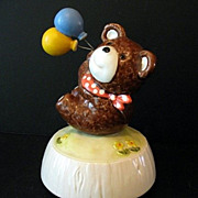 Music Box Teddy Bear with Balloons Ceramic Otagiri