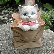 White Kitten in Brown Bag Music Box SFMB
