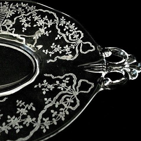 Fostoria  Crystal Oval Tray Corsage Pattern