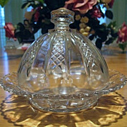 Butter Cheese Dish EAPG 1880s Clear and Diamond Panels
