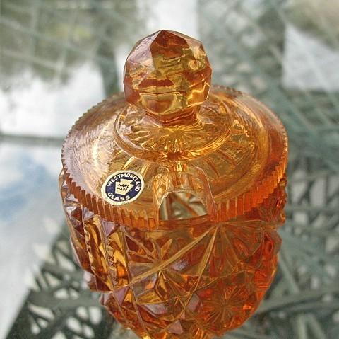 Mustard Jar Westmoreland  Pressed Glass 1940s