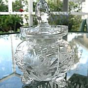 Hand Cut Lead Crystal Condiment Jar with Spoon Slot Vintage