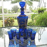 Cobalt Blue Gold Decanter 6 Cordials Made in Italy