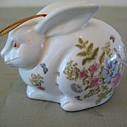 Sachet Holder Fern Bunny Hand Painted Porcelain