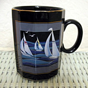 Otagiri Sailing Boats Mug Made in Japan Unusual shape