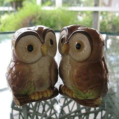 Otagiri Owls Salt Pepper Set Made in Japan 1981