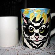 Mug Set 4 Huge Hand Painted Cat Face Ceramic