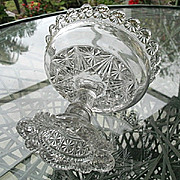Open Compote  Pedestal Bowl 1887 Belmont Glass Globe Star