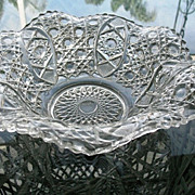 Bowl Clear Ruffle Sawtooth Rim Pressed Glass