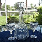 Decanter Set Atlantis Hand Cut Lead Crystal 3 Glasses