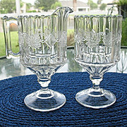 Table Set Creamer Sugar Spooner Twin Leaves Pressed Glass