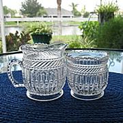 Creamer Spooner EAPG Strigil Tarentum Glass 1892