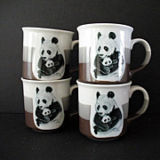 Adorable Pandas 4 Large Cups Otagiri Japan