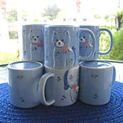 Otagiri 8 Blue Cat Mugs 1984 Made in Japan
