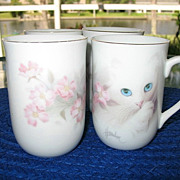 Cups 4 Blue Eyed Kitten Apple Blossoms Otagiri Harrison
