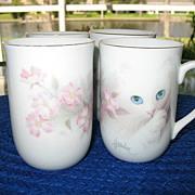 Cups 4 Blue Eyed Kitten Apple Blossoms Otagiri Harrison