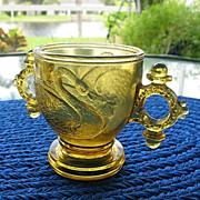 Amber 1880 Atterbury Swan Sugar Bowl with Ring Handles
