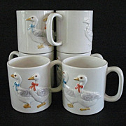 Country Kitchen 8 Large Mugs Ribboned Geese 1983 Otagiri
