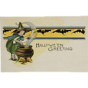 Little Witch Stirs Halloween Kettle Postcard
