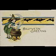 Little Witch Stirs Halloween Kettle Postcard
