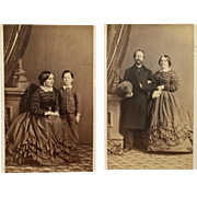 2 CDVs- Civil War Era Woman And Son, Same Woman And Husband