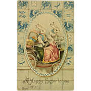 Postcard Easter Bunnies Egg Delivery-1905