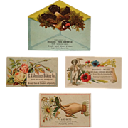 4 Trade Cards- The Hatter, Carriage Repair, Baker, Stoves And Tin Ware - Red Tag Sale Item