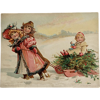 Large Woolson Spice /Lion Coffee-Brundage Children And Christmas Sled