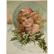 Large Woolson-Spice/Lion Coffee- Christmas Girl With Holly