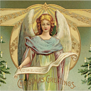 Beautiful Embossed Angel With Golden Stars